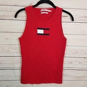 Tommy Hilfiger Logo Sweater Tank Ribbed VTG 2003 M